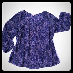 EUC Skies are Blue Abstract Floral blouse